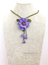 トゥーオヤ☆四重トーンのお花☆ブローチ・ネックレス兼用|パープル系