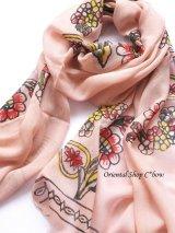 ふわり軽いコットン☆トカット:木版:手押しストール・エルバン(多色・4色)|アンティークピンク