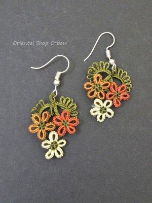 画像1: メキッキオヤピアス 3つ小花 暖色系
