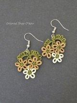 メキッキオヤピアス|3つ小花|シナモン・ホワイト系