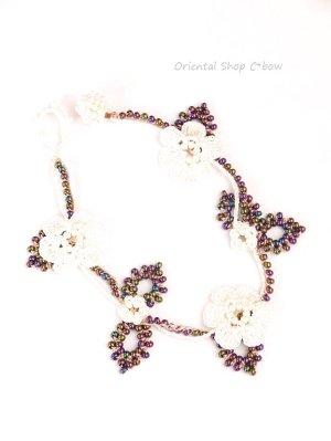 画像2: ボンジュックオヤブレスレット|つる草の花|オフホワイト・桜・玉虫パープル