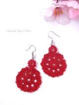 ボンジュックオヤピアス|結晶の花|真紅レッド