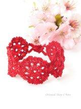 ボンジュックオヤブレスレット|結晶の花|真紅レッド