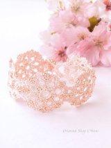 ボンジュックオヤブレスレット|結晶の花|ピーチピンク
