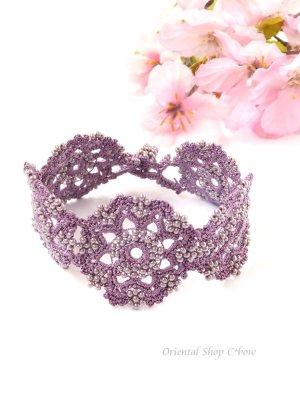 画像1: ボンジュックオヤブレスレット|結晶の花|アンティークモーヴ