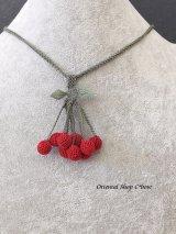 日本発送◆シルクイーネオヤネックレス|赤色さくらんぼ