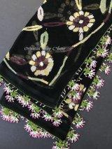 珍:ブルサ|木版非常に珍しい|アンティークオヤスカーフ・シルク糸