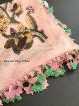 画像7: イズミール・ヴィンテージ 木版アンティークオヤスカーフ シルク糸イーネオヤ ピンク×ピンクグリーン