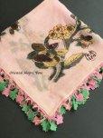画像3: イズミール・ヴィンテージ 木版アンティークオヤスカーフ シルク糸イーネオヤ ピンク×ピンクグリーン
