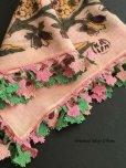 画像1: イズミール・ヴィンテージ 木版アンティークオヤスカーフ シルク糸イーネオヤ ピンク×ピンクグリーン (1)