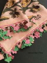 イズミール・ヴィンテージ|木版アンティークオヤスカーフ|シルク糸イーネオヤ|ピンク×ピンクグリーン