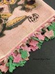 画像2: イズミール・ヴィンテージ 木版アンティークオヤスカーフ シルク糸イーネオヤ ピンク×ピンクグリーン