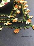 画像3: イズミール・ヴィンテージ|木版アンティークオヤスカーフ|シルク糸イーネオヤ|ブラック・木版可愛い
