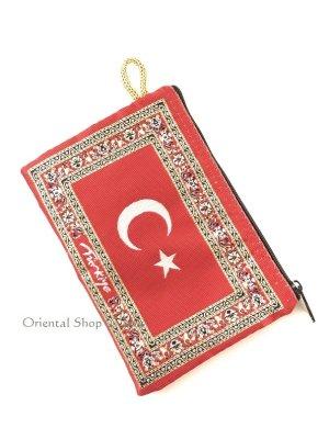 画像1: トルコのポーチ|トルコ国旗デザイン|赤