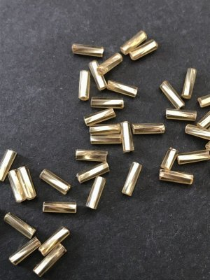 画像2: ツイスト竹ビーズ|シャンパン・シルバーライン|7mm|10g