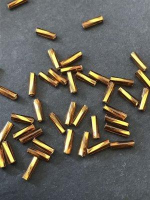 画像2: ツイスト竹ビーズ|ゴールデンブラウン・シルバーライン|7mm|10g