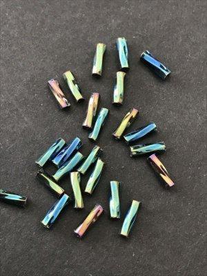 画像2: ツイスト竹ビーズ 玉虫ブルー系 7mm 10g