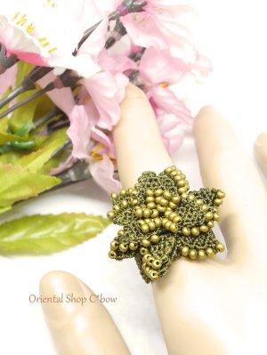 画像2: ボンジュックオヤ☆お花リング|モスグリーン×マット