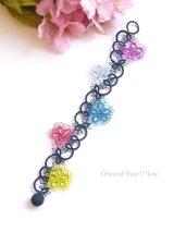 メキッキオヤブレスレット|花|カラフル|濃紺