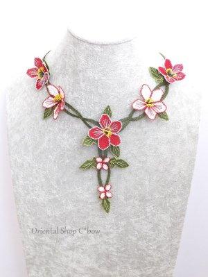 画像1: シルクイーネオヤネックレス 花ネックレス レッド系