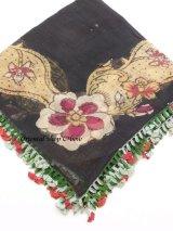 ブルサ|木版|アンティークオヤスカーフ・シルク糸超細かいイーネオヤ|木版面白い
