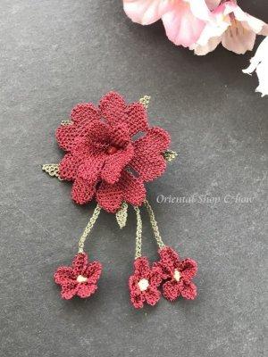 画像1: シルクイーネオヤブローチ|揺れる小花|えんじ