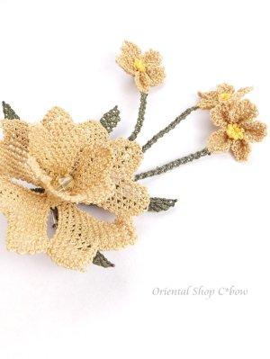 画像3: シルクイーネオヤブローチ|揺れる小花|ベージュ