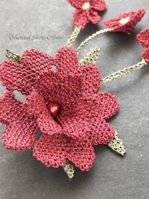 画像2: シルクイーネオヤブローチ|揺れる小花|えんじ