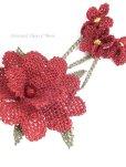 画像3: シルクイーネオヤブローチ|揺れる小花|えんじ (3)