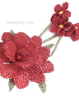 画像3: シルクイーネオヤブローチ|揺れる小花|えんじ