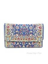 トルコ絨毯柄|三つ折り財布・ブルー系