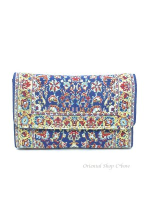 画像1: トルコ絨毯柄|三つ折り財布・ブルー系