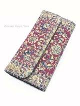 トルコ絨毯柄|三つ折り 長財布|ワインレッド系
