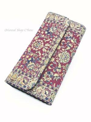 画像1: トルコ絨毯柄 三つ折り 長財布 ワインレッド系