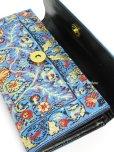 画像3: トルコ絨毯柄|三つ折り 長財布|ターコイズ系・3