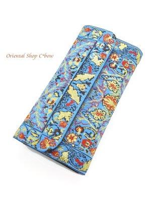画像1: トルコ絨毯柄|三つ折り 長財布|ターコイズ系・3