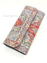 トルコ絨毯柄|三つ折り 長財布|レッド系・1