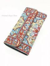 トルコ絨毯柄|三つ折り 長財布|レッド系・4
