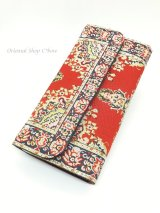 トルコ絨毯柄|三つ折り 長財布|レッド系・3