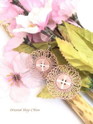 画像1: とっても軽い☆イーネオヤピアス|ボタン・花火花|桜貝