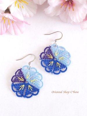 画像2: とっても軽い☆イーネオヤピアス|5枚花|ブルー系・B