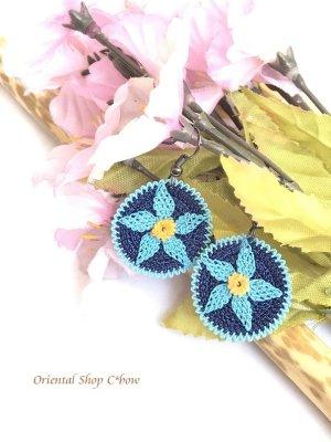 画像1: とっても軽い☆イーネ・トゥーオヤピアス|花|ターコイズ×ブルー