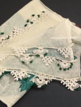 東アナトリア・エラズー|アンティークオヤスカーフ|シルク糸イーネオヤ|クリーム|扇のオヤ