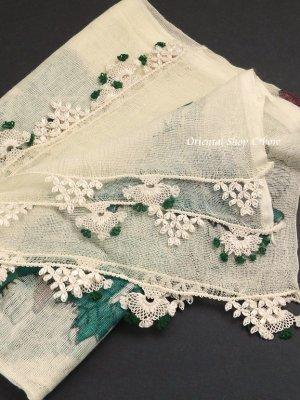 画像1: 東アナトリア・エラズー|アンティークオヤスカーフ|シルク糸イーネオヤ|クリーム|扇のオヤ