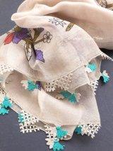 東アナトリア・エラズー|アンティークオヤスカーフ|シルク糸イーネオヤ|ベージュ|チューリップ