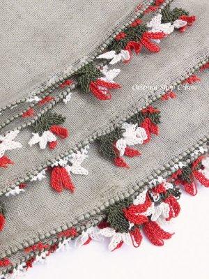 画像2: ブルサ|アンティークオヤスカーフ・シルク糸超細かいイーネオヤ|花付きとうがらし