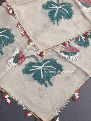 画像5: ブルサ|アンティークオヤスカーフ・シルク糸超細かいイーネオヤ|花付きとうがらし