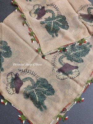 画像5: ブルサ|木版|アンティークオヤスカーフ・シルク糸・細かいイーネオヤ|とうがらし