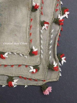 画像1: ブルサ|アンティークオヤスカーフ・シルク糸超細かいイーネオヤ|花付きとうがらし