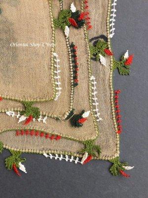 画像4: ブルサ|木版|アンティークオヤスカーフ・シルク糸・細かいイーネオヤ|とうがらし
